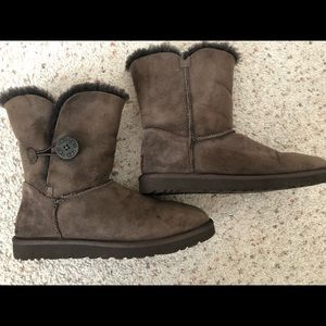 UGG Chocolate Boots Bailey Button Size 10